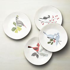 Set of 4 Marin Winter Birds Salad Plates | Crate and Barrel