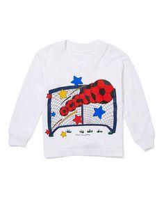 White & Red Soccer Long-Sleeve Tee - Kids