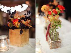 rustic fall wooden box wedding centerpiece, vintage bottle wood box wedding centerpiece, rustic fall wedding flowers centerpieces utah calie rose wadley farms wedding kristina curtis photography