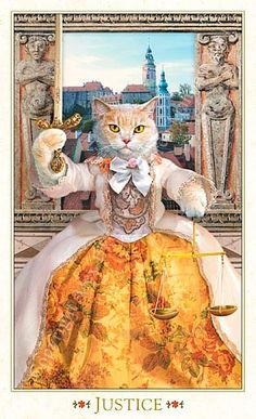 Justice The Baroque Bohemian Cats' Tarot Publisher: Magic Realist Press 2004 Cat Cosplay, Cat Cards, Vintage Cat, Cat Drawing, Cats And Kittens, Ragdoll Kittens, Bengal Cats, White Kittens, Black Cats