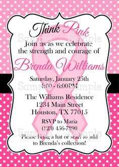 Printable Pink Ribbon Breast Cancer Awareness Party Invitation | aMerAZNStyLe - Digital Art  on ArtFire