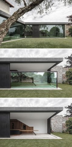 This Italian Villa Has Glass Walls That Disappear Into the Floor Bergmeisterwolf have designed a modern extension for a house in Italy that features vertical sliding windows that can disappear into the ground. Minimalist House Design, Minimalist Home, Modern House Design, Amazing Architecture, Contemporary Architecture, Interior Architecture, Architecture Layout, Architecture Artists, Minimal Architecture