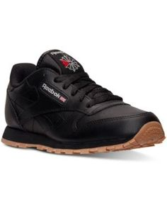 3c7697a15235dc Reebok Boys  Classic Leather Casual Sneakers from Finish Line - BLACK GUM  5.5 Classic Sneakers