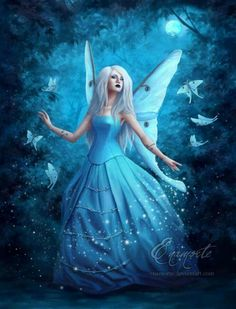 ★ Brilliant Blue ★ Fantasy Portraits by Enamorte Fairy Dust, Fairy Land, Fairy Tales, Foto Fantasy, Fantasy Art, Magical Creatures, Fantasy Creatures, Elfen Tattoo, Fantasy Portraits