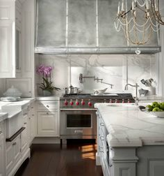 Zinc Kitchen Hoods - Design photos, ideas and inspiration. Amazing gallery of interior design and decorating ideas of Zinc Kitchen Hoods in kitchens by elite interior designers. Classic White Kitchen, All White Kitchen, New Kitchen, Kitchen Dining, Kitchen Decor, Dining Rooms, Kitchen Ideas, Kitchen Interior, Long Kitchen