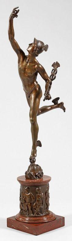 Giambologna (1529 Douai - 1608 Florenz) nachMerkurGroße Bronze, dunkel…
