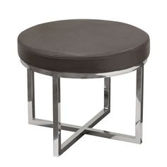 Diamond Sofa Ritz Round Accent Stool with Padded Seat in Elephant Grey Bonded Leather and Polished Stainless Steel Base