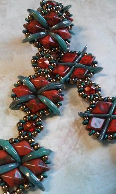Diamond Crossing bracelet. The pattern for this is available at Red Panda Beads,