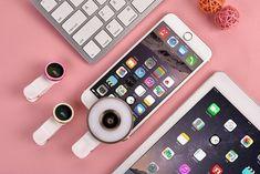 Un combo para los amantes de la fotografía, convierte tu celular en una poderosa cámara profesional. Luz Flash, Luz Led, Iphone, Lighting, Fisheye Lens, Lovers, Products, Lights