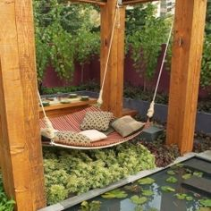 DIY Backyard Hammock Swing ideas-for-my-dream-home-hey-i-can-dream-big Outdoor Spaces, Outdoor Living, Outdoor Decor, Outdoor Swings, Outdoor Lounge, Outdoor Daybed, Outdoor Seating, Garden Seating, Backyard Seating
