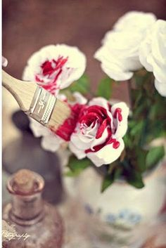 Painting the Roses Red ~ Alice in Wonderland wedding theme flowers bouquet
