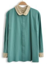 Light+Green+Lapel+Long+Sleeve+Buttons+Embellished+Blouse+0.00