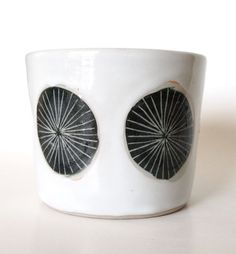 Black Pinwheel Ceramic Planter/Cup by lovebugkiko on Etsy, $35.00