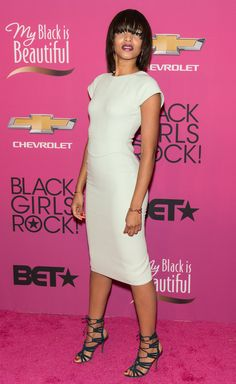 Black Girls Rock 2013 Red Carpet Arrivals  Alice Smith surely knows how to add major pizazz without over kill to a nice white dress
