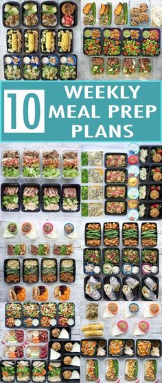 Ten weekly meal prep plans for a healthy new year! I rounded up my 10 most popular meal prep posts from 2017. Each one includes a meal plan, recipes, nutrition info, snack ideas, and container recommendations! #healthymealplan