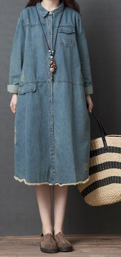 bc1c107560f French o neck Cotton clothes Casual Tutorials denim blue tunic Dress shirt  dress