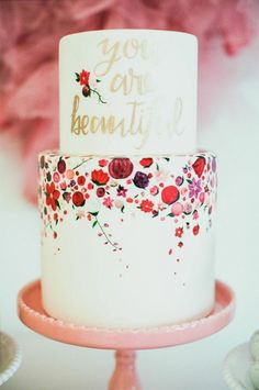 "Painted Wedding Cake ""you are beautiful"""