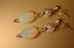 Earrings Sea Opal and Swarovski Crystal bicone by BlessedBeeMelisa, $24.50
