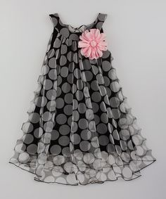 Look at this Mia Belle Baby Black Pink Flower Swing Dress - Toddler Girls on - Kids Fashion Frocks For Girls, Toddler Girl Dresses, Little Girl Dresses, Girls Dresses, Toddler Girls, Party Dresses, Toddler Hair, Toddler Outfits, Baby Frocks Designs