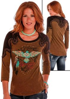 Panhandle Slim Women's Distressed Brown Turquoise Aztec 3/4 Sleeve Shirt L9T1551 [L9T1551]