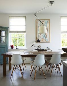 dining table, chairs...ceiling fixture - not so much
