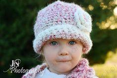 Crocheted Beanie w/Flower Crocheted Pink
