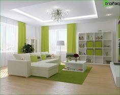 Tervezés mennyezet gipszkarton a nappaliban