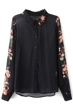 Black Floral Print Button Down Chiffon Shirt - Beautifulhalo.com