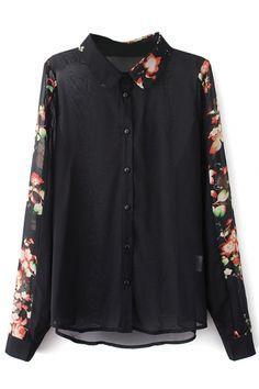Black Floral Print Button Down Chiffon Shirt - Beautifulhalo.com