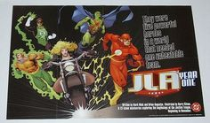 Rare vintage original 1997 DC Comics Justice League of America 34x22 JLA promo poster 1:The Flash, Black Canary, Green Lantern, Aquaman, Martian Manhunter, 1990's comic book shop dealer's window display pin-up! NEVER FOR SALE TO THE PUBLIC AND SCARCE!