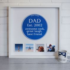Personalised Family Blue Plaque Box Frame by Instajunction, the perfect gift for Explore more unique gifts in our curated marketplace. Personalized Fathers Day Gifts, Fathers Day Mugs, Fathers Day Presents, Fathers Day Cards, Personalized T Shirts, 3d Box Frames, Father's Day T Shirts, Photo Magnets, Small Boxes