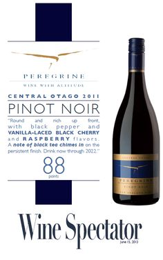 Peregrine Pinot Noir 2011 - 88 points - Wine Spectator