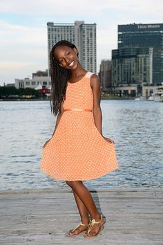 Cute Summer Dress.  Polka Dots & Lace.  Orange & White.  Style with Charm.