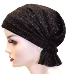 Turban Plus Abbey Cap in Chocolate Brown with Gold Shimmer Accents in Sweater Knit Turban Plus. $24.99