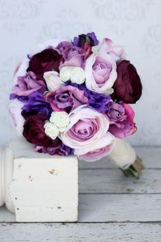 Silk Bride Bouquet Shabby Chic Rustic Wedding Purple (item F10559). $79.99, via Etsy.