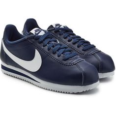 Nike Leather Cortez Sneakers (€59) ❤ liked on Polyvore featuring shoes, sneakers, blue, leather sneakers, nike footwear, leather trainers, nike sneakers and nike