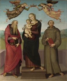 Perugino : The Virgin and Child with Saints Jerome and Francis (National Gallery London  (United Kingdom - London)) 1448-1523 ペルジーノ