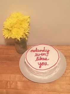 I moved into my girlfriend's apartment today and her roommate baked me a cake. : funny