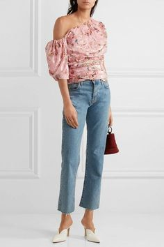 Preen by Thornton Bregazzi | One-shoulder printed devoré chiffon top | NET-A-PORTER.COM