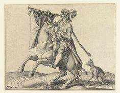 Jacob de Gheyn (II) | Trompetter te paard, Jacob de Gheyn (II), 1599 | Een geharnaste man te paard, naar links rijdend, met een trompet aan de mond waaraan een vaandel hangt. Achter het paard zit een hondje op de grond. Deze prent is onderdeel van een serie van 22 genummerde prenten: een titelprent, 20 prenten waarop één of enkele verschillende typen (meest geharnaste) ruiters zijn weergegeven, en een prent met een ruitergevecht.