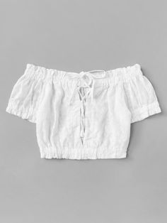 Off Shoulder Frill Trim Lace Up TopFor Women-romwe Cute Girl Outfits, Cute Casual Outfits, Pretty Outfits, Stylish Outfits, Girls Fashion Clothes, Teen Fashion Outfits, Outfits For Teens, Fashion Shorts, Crop Top Outfits
