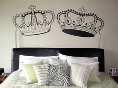 I am going to paint crowns above the bed when we get our own house-more rustic looking than this-maybe with a dark blue wall and gold leaf crowns or copper paint...
