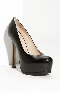 I've pinned this pump before and I'll pin this pump again - until it is mine!    Yves Saint Laurent 'Tribtoo' Leather Platform Pump in black - pebbled leather.