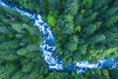 """DECEMBER 1, 2016. Overwhelming Nature  By Karim Iliya.  Look closely: There's more to this image than the frothy, rushing waters of the Columbia River Gorge and velvety green of the forest. Two bright kayaks are on the river, dwarfed by the surroundings. """"This shot took a lot of planning and coordination,"""" Karim Iliya writes. The kayakers """"had to hang out in an eddy and try not to move while I took long exposures with a drone [...]."""
