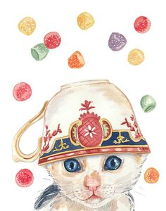 Kitten and Teacup Watercolor Print, Gumdrops, Candy Illustration
