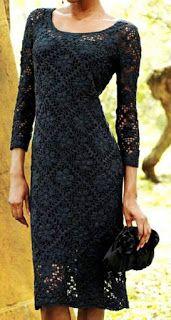 Croche e Pontos: Roupas 22/3/17 Black Crochet Dress, Crochet Skirts, Crochet Clothes, Knit Dress, Dress Skirt, Crochet Wedding Dresses, Summer Dress Patterns, Lilac Dress, Crochet Woman