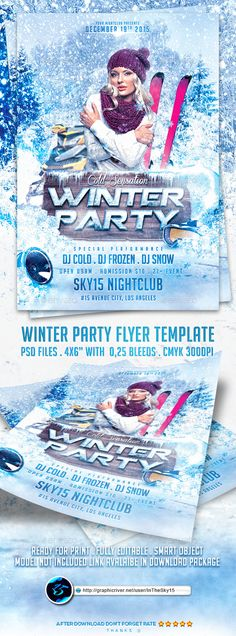 Winter Party Flyer Template PSD #design Download: http://graphicriver.net/item/winter-party-flyer-template/13619909?ref=ksioks