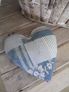 Blue patchwork heart