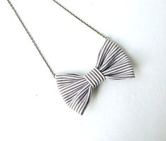 Grey Purple Stripes  Bow Tie Necklace by Fr33na on Etsy, $11.00