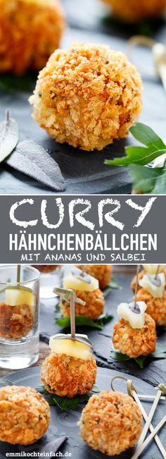 Curry chicken balls - quick finger food - easy to cook - Curry Chicken Balls with Pineapple and Sage – www.emmikochteinf … Curry Chicken Balls with Pine - Chicken Spices, Easy Chicken Curry, Chicken Balls, Chicken Breast Fillet, Snacks Für Party, Vegetarian Dinners, Eat Smart, Finger Foods, Appetizer Recipes
